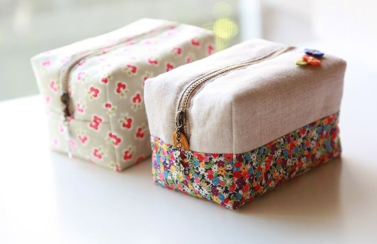 How to make cute block zipper pouch / handbag. DIY photo tutorial and template pattern.