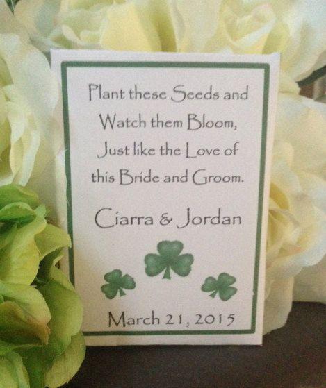 50 Custom Irish Shamrock St Patricks Day Personalized Wedding Seed
