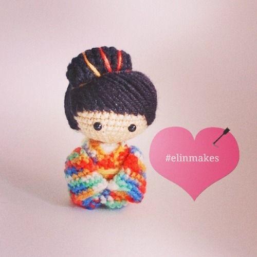 Konichiwa! #japanese #doll #amigurumi #crochet #instacrochet #elinmakes #cute #colourful #chibi #kokeshi #handmade