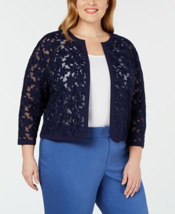 Anne Klein Plus Size Embroidered Cardigan –