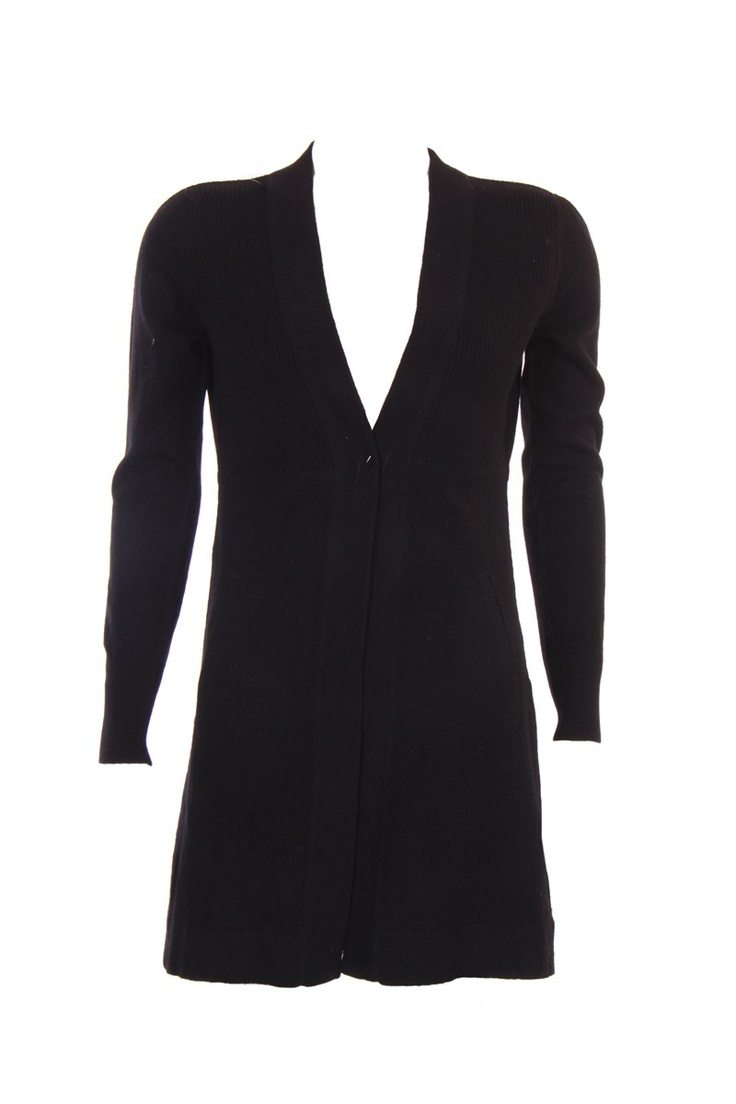 """""""Empire Seam Pocket Cardigan With Rib Structure In Black; Acrylic Viscose; 33"""""""" In Length"""" Outer Wear #Clothing #Fashion #Style #Wear #Colors #Apparel #SemiFormal #Casuals #W for #Woman"""