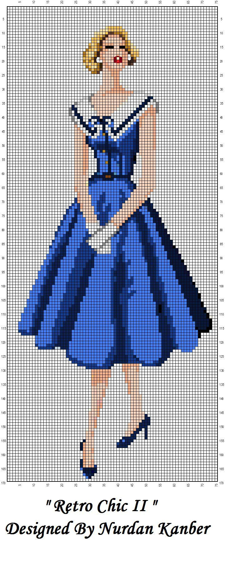 0 point de croix femme retro chic blue dress - cross stitch