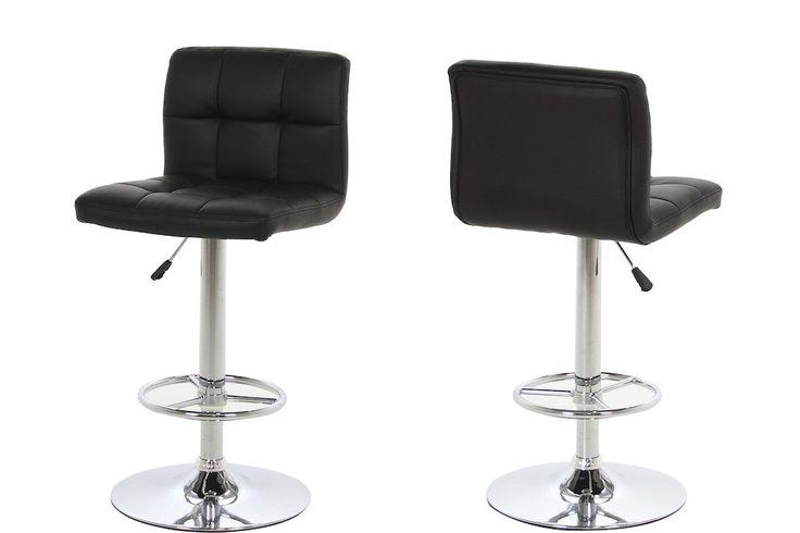 Java barstol - Flot sort barstol med betræk i kunstlæder. Barstolen har polstring i både sæde og ryglæn, der er behagelig fodstøtte og smart hæve/sænkefunktion med gaspatron. Kan hæves fra 63cm. til 84cm. Leveres i kolli á 2 stk.