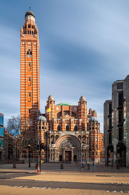 The Westminster Cathedral towers over the surrounding buildings near Victoria station in London