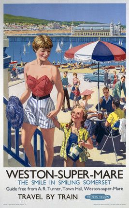 ENGLAND - SOMERSET - Weston-Super-Mare, BR vintage travel beach poster, 1952