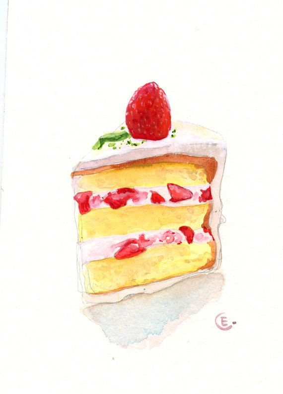 Cake 2 - Original Watercolor Painting 8x6 inches. $25.00, via Etsy.