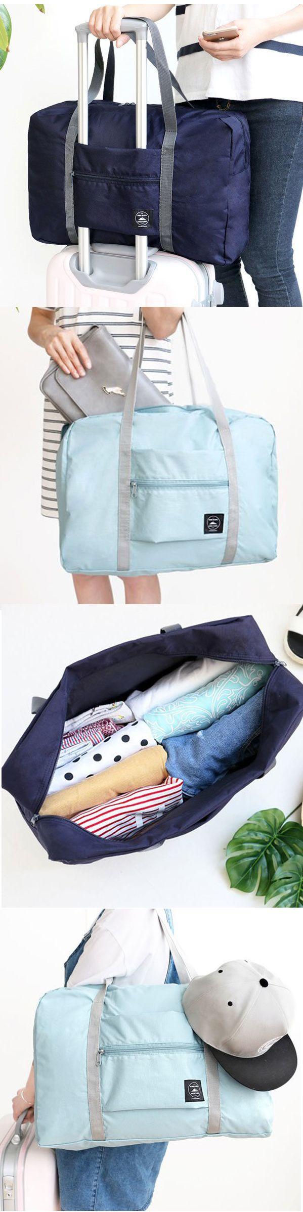 $5.99 Large Travel Bag Waterproof Storage Bag Luggage Folding Handbag Shoulder Bag Storage Containers
