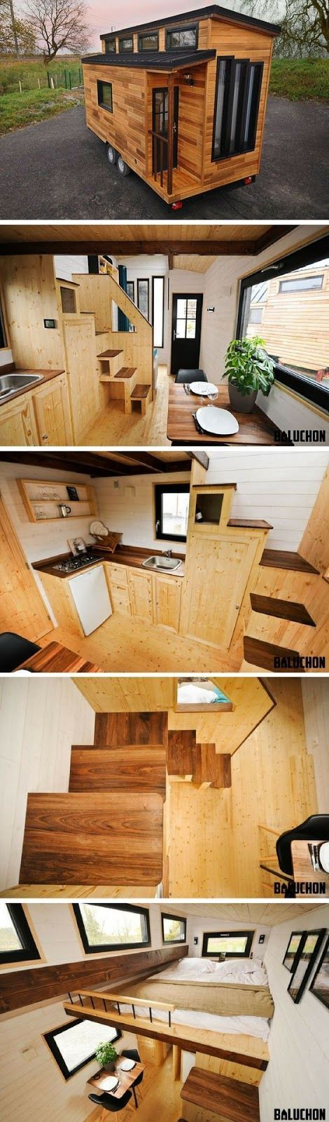 This fabulous, modern tiny house on wheels is named the Escapade. It measures just 185 sq ft between its loft and ground floor. Ch...