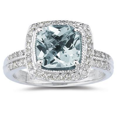 ApplesofGold.com - 2.50 Carat Cushion Cut Aquamarine and Diamond Ring in 14K White Gold, $699!