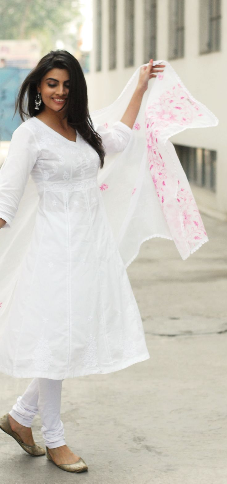 classic #whites with #pink #embroidery - #chikankari #anarkali and #dupatta