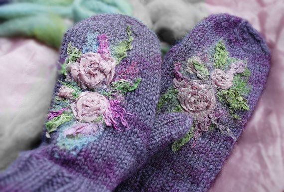Lavender mittens Hand Knitted Wool Mittens with by MySunsetColor, $42.00