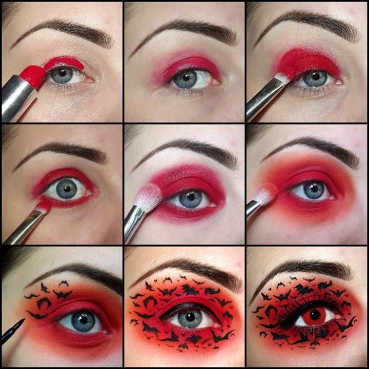 Rockin' red base with black bats eye makeup with red contacts for All Hallow's- RIGHT through my cave!