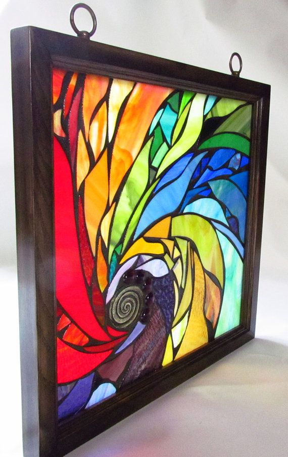 Stained Glass Mosaic Artwork Spiral 18 X 18 inches by artseba like the mosaic aspect of this