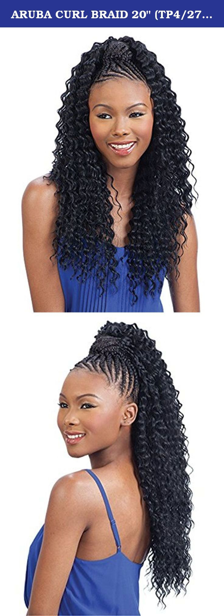 "ARUBA CURL BRAID 20"" (TP4/27) - Freetress Synthetic Braiding Hair. Comb Location:. Adjustable Strap:. Drawstring:. Cap Size: May vary slightly by brand. Circumference: 21.25"" Ear To Ear: 13.5"" Front To Back 14.25""."