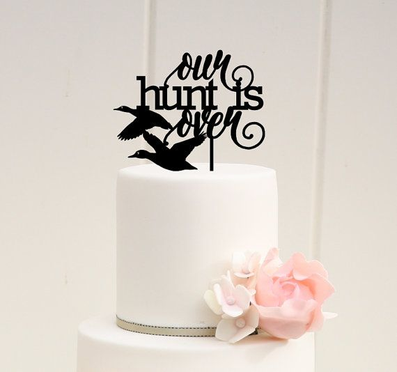 Our Hunt is Over Duck Hunting Wedding Cake by ThePinkOwlGifts