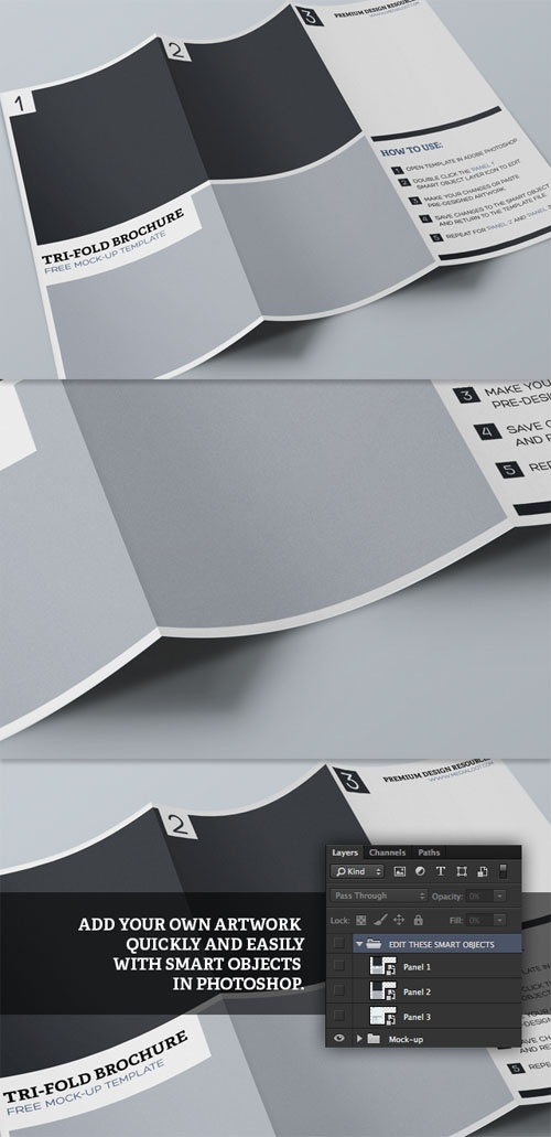 MediaLoot - Tri Fold Brochure Mock-up Template