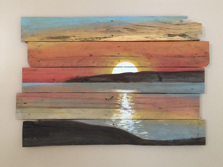 Sunset on Reclaimed Pallet Wood by ReClaimedPurposed on Etsy
