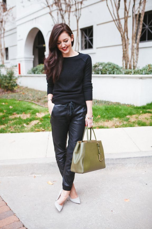 Leather Jogger Pants 2017 Street Style