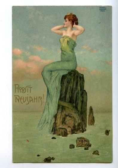 Art Nouveau Woman Mount Mermaid by Kirchner Vintage postcard. eBay