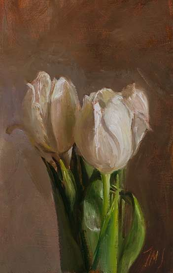 daily painting titled White tulips
