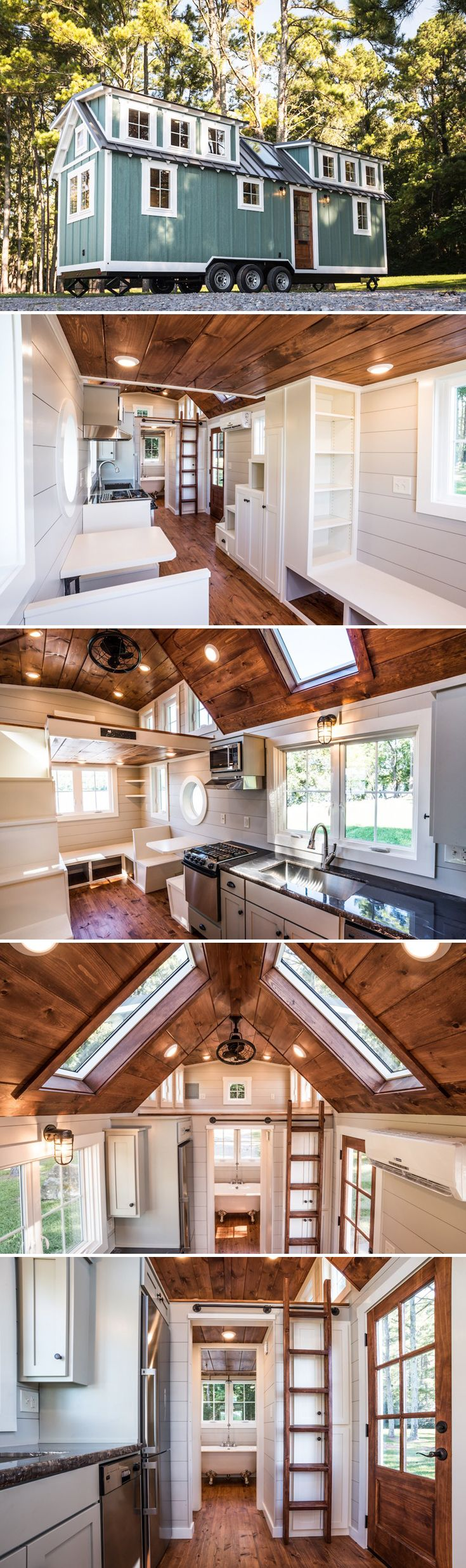 The Ridgewood is a 28' dual-lofted tiny house by Timbercraft Tiny Homes. The country style home has board-and-batten siding and white rafter tails.