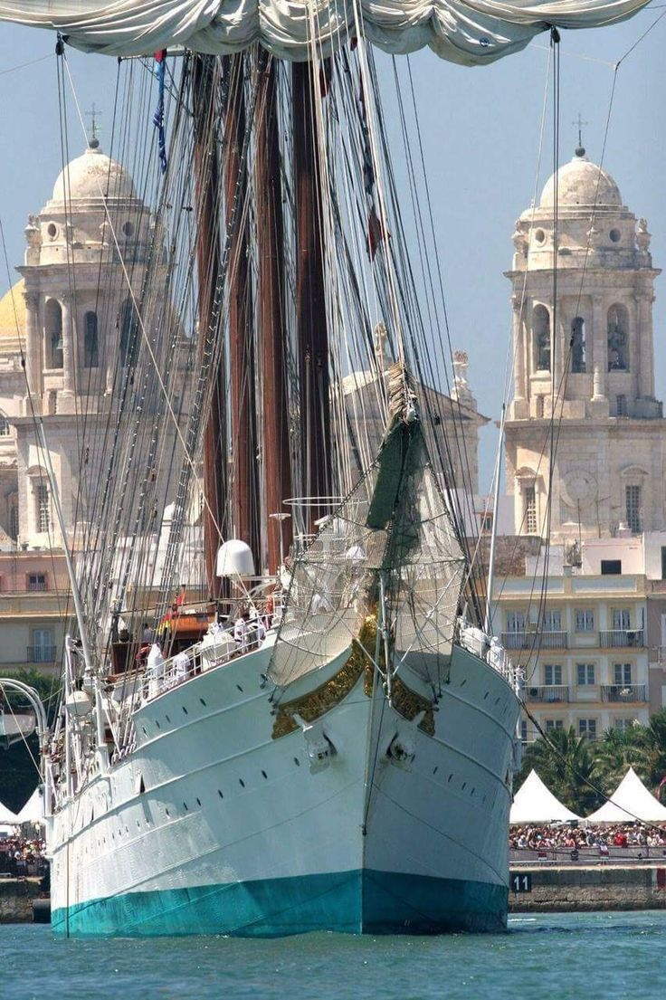 Cadiz Cathedral and the training ship Juan Sebastian Elcano, Spain