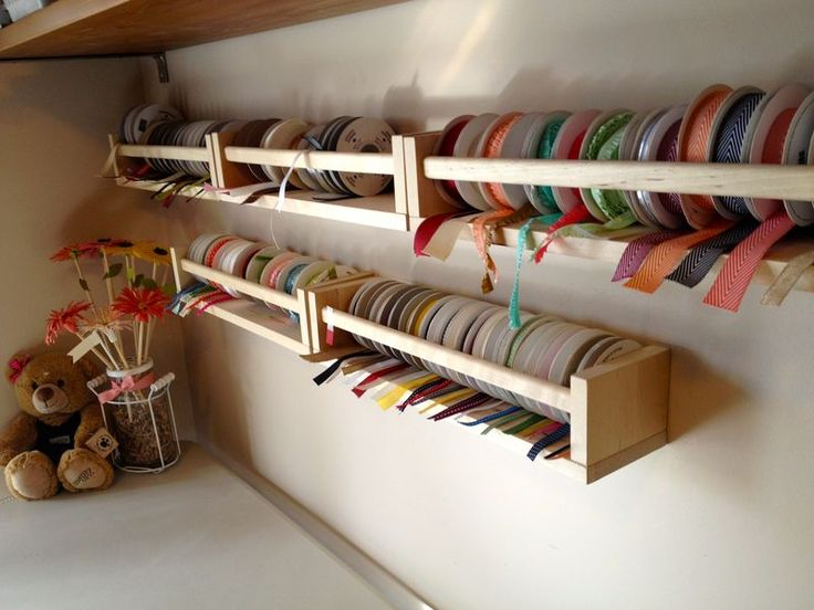 "ribbon shelves-actually spice jar racks from my favorite ""Bog Box"" store. I love the fact that there's no dowel in the middle and when I want to remove a roll I just pull it out"