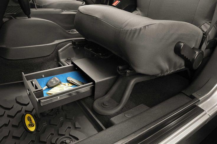 Bestop® Locking Under Seat Storage Box in Textured Black for 07-10 Jeep® Wrangler & 07-15 Wrangler Unlimited JK Driver Side | Quadratec