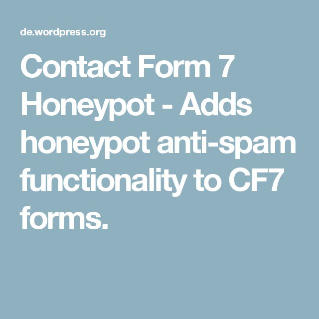 Contact Form 7 Honeypot - Adds honeypot anti-spam functionality to CF7 forms.