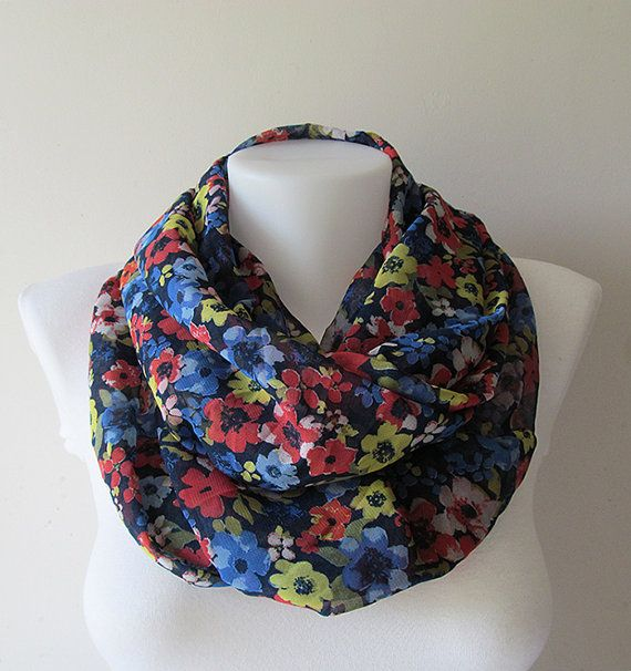 Navy Blue Floral Infinity Scarf Colorful by NaryasSewingCorner