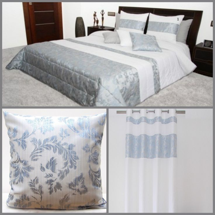 Białe dekoracyjne zestawy do sypialni z błękitnym ornamentem