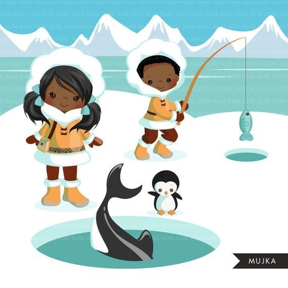 Arctic animals clipart  Cute winter animals, igloo, whale