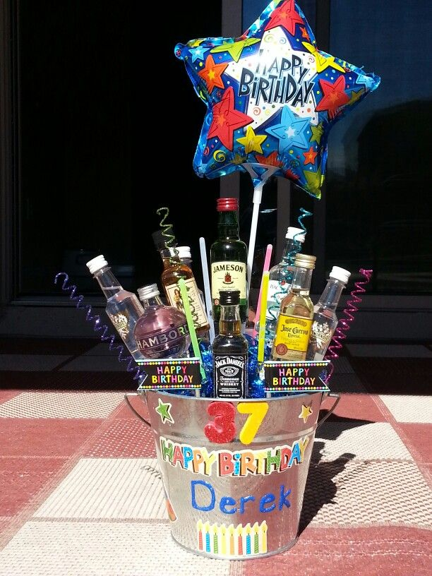 mini alcohol bouquet i made for a friends birthday. Black Bedroom Furniture Sets. Home Design Ideas