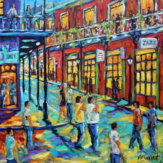 TABLEAU PEINTURE Bourbon Street New Orleans Nouvelle Orléans Musiciens de rue Personnages Peinture a l'huile  - Rue Bourbon Nouvelle Orleans scène de rue création de Prankearts