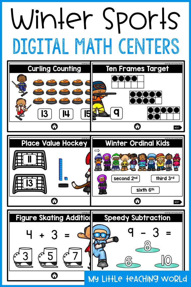 Kindergarten Winter Sports Digital Math Centers Practicing Math skills with  this no-prep, fun
