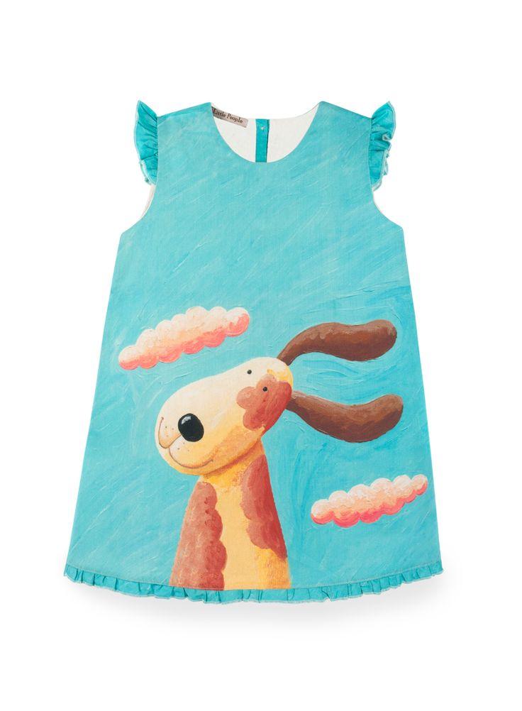 BINKI Бирюзовое Платье с Собакой из Хлопка #binkiru #детскаяодежда #магазиндетскойодежды