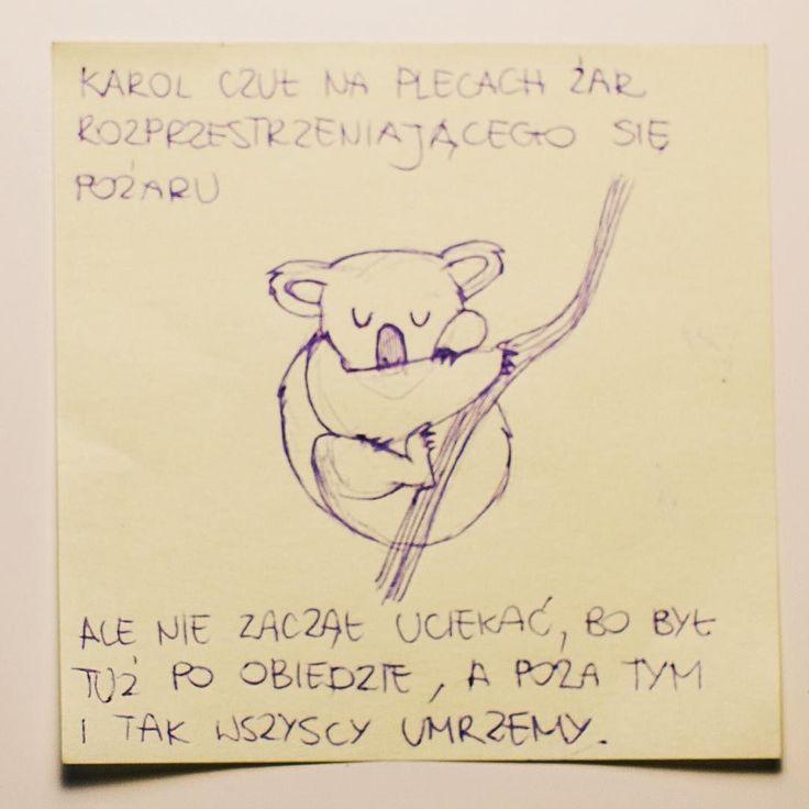 """W cyklu """"Bajki Ezopa"""" #ciekaweczyupieczonykoalanadaltrzymasiędrzewa #śpiączkaglukozowa #pośmierciteżbędęspać #bajkiezopa #rysunek by bajki_ezopa"""
