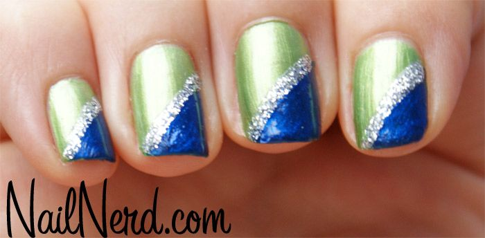 Blue on Green Stripe Nails...doing this look next for my Seahawks