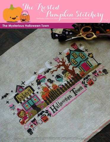 Mysterious Halloween Town Cross Stitch Pattern: