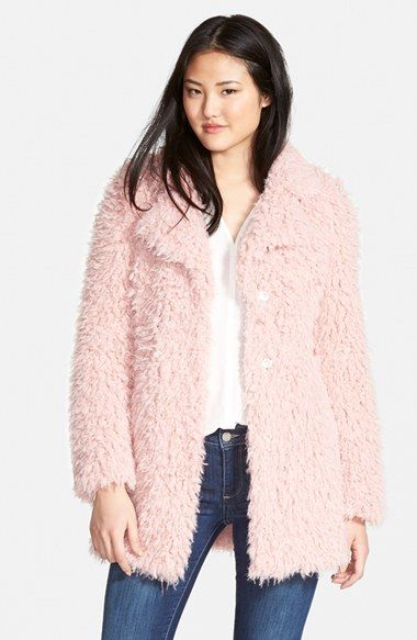 Guess Teddy Bear Notch Collar Faux Fur Coat Available