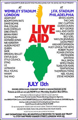 Live Aid Concert 1985 WHERE WERE YOU WATCHING? LISTENING BY RADIO ON A LONDON COMMON OR PARK?  PARTYING WITH A GROUP OF FRIENDS?