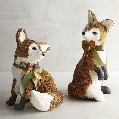 Show your appreciation of forest critters with our adorably curious foxes wearing festive ribbons of autumn foliage. One may do, but a group will add abundant charm and texture to your harvest decor.