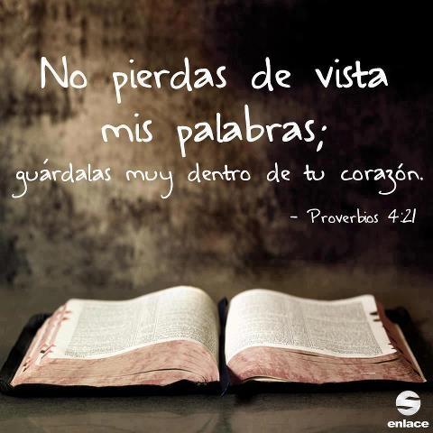 proverbios 4:21 <3 No pierdas de vista mis palabras; guárdalas muy dentro de tu corazón.