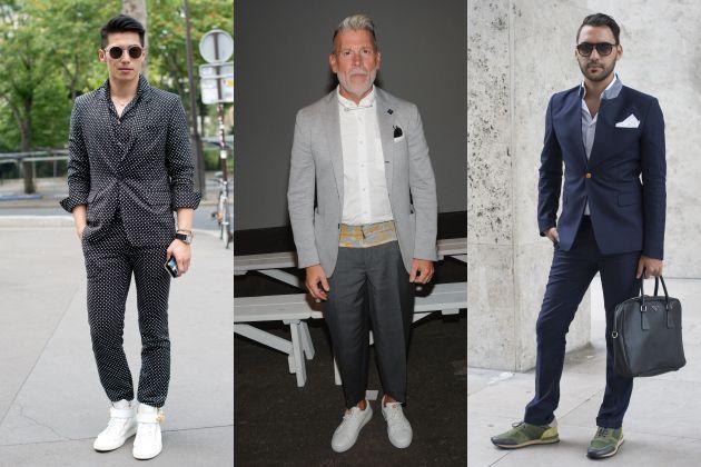 Comme toujours, dans le doute, inspirez-vous des meilleurs. Le mannequin Jeremy Wong, la légende vivante de la mode masculine Nick Wooster et Ahmad Daabas, le rédacteur en chef d'AMD Mode, offrent trois interprétations du costume + sneakers qui prouvent aux plus sceptiques que ça marche.