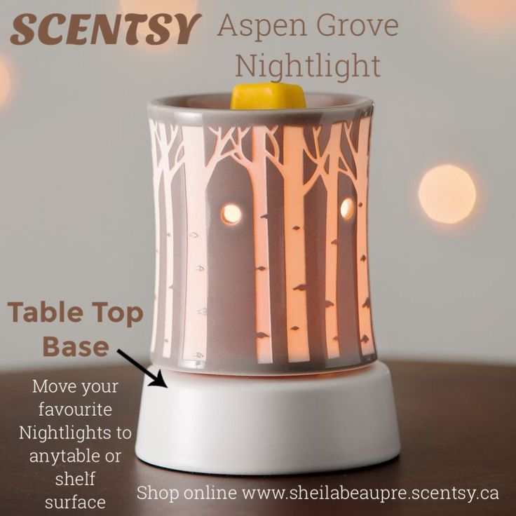 SCENTSY WARMER  LIFETIME WARRANTY  Bask in the serene glow of soft morning light filtering through a forest of aspen trees on a muted gray base. Ceramic.