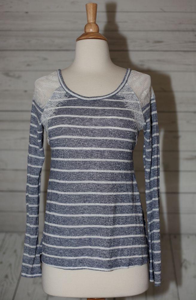 No Boundaries S, Small Raglan Eyelet Lace Striped Strappy Top Blouse Shirt Tunic  | eBay