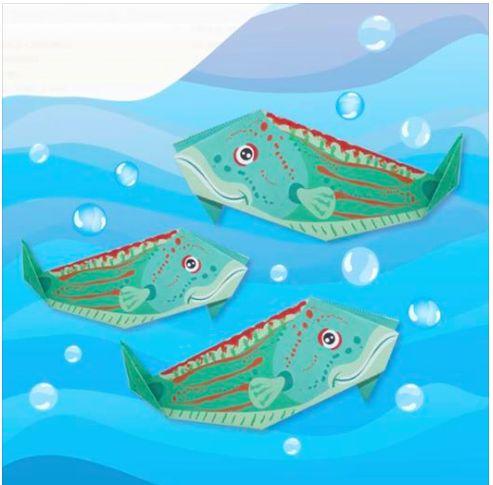 ORIGAMI - pesce tordo - in edicola con il corriere della sera e la gazzetta dello sport - BY irene mazza