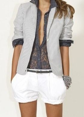 Play on lace - soft pastel grey lace long sleeves, matching grey belt on crisp white shorts and light grey blazer. Add metallic bracelets.