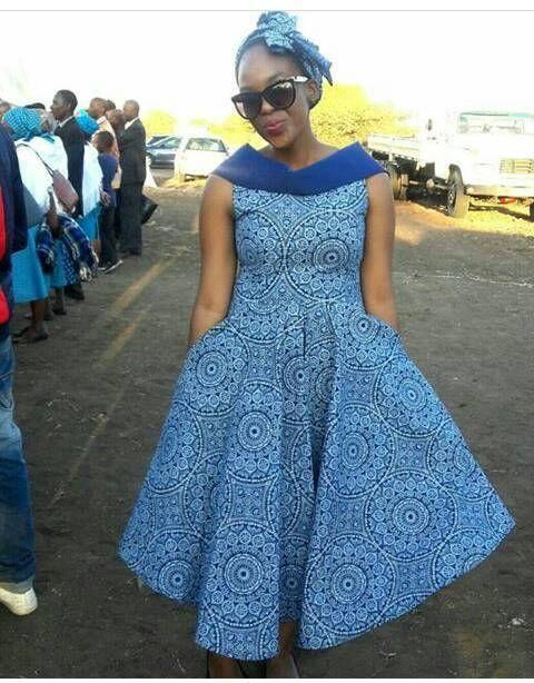 Blue  floral Ankara dress