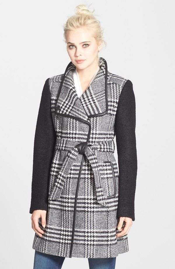 EUR 145 - GUESS Bouclé Sleeve Plaid Wrap Coat (Regular & Petite)
